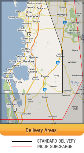 Delivery Regions for Mandurah Bins